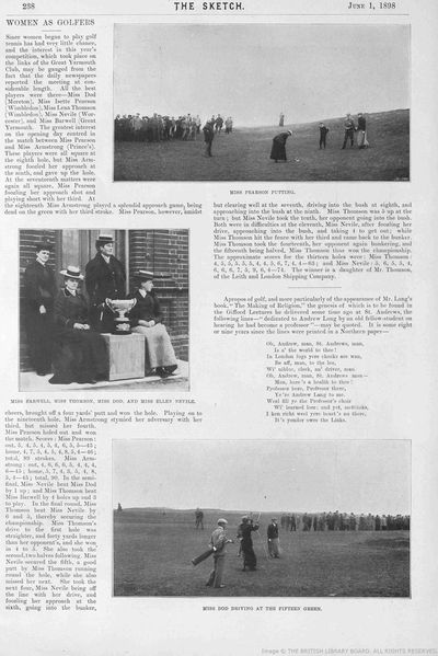 Great Yarmouth Golf Club, Norfolk. Article from The Sketch June 1898.