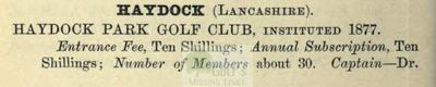 Haydock Park Golf Club. Entry from The Golfing Annual 1888/89.