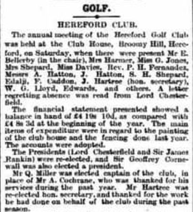 South Herefordshire Golf Club, Colwall, Malvern. From The Hereford Times May 1909.