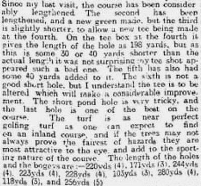 Hessle Golf Club, Yorkshire. Hull Daily Mail correspondent visits the club in April 1914.