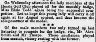Hessle Golf Club, Yorkshire. Competition results from July 1895.