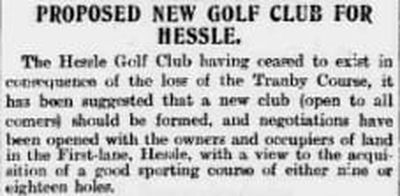Hessle Golf Club, Yorkshire. The proposed new golf club in June 1898.