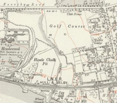 Hessle Golf Club, Yorkshire. The 1928 Ordnance Survey Map shows the location of the course and clubhouse.