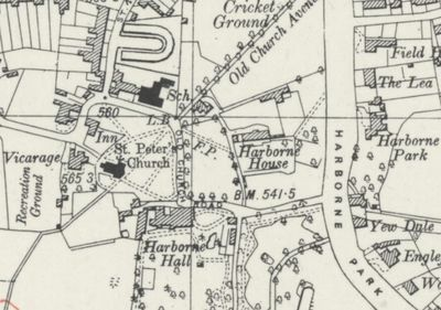 Hillyfields Golf Club, Harborne, Birmingham. The map shows Old Church Road map published 1944.