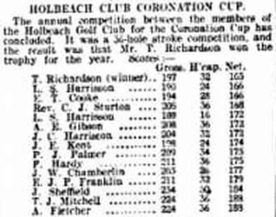 Holbeach Golf Club, Lincolnshire. Result of the Coronation Cup played in April 1907.