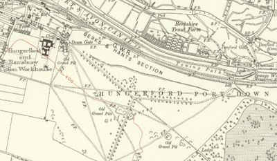 Hungerford Golf Club, Berkshire. The golf course on the 1925 Ordnance Survey Map.