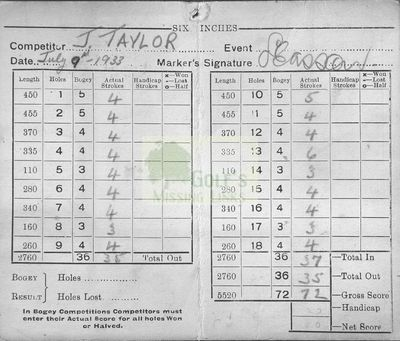 Hurdsfield Golf Club, Macclesfield, Cheshire. Hurdsfield scorecard.