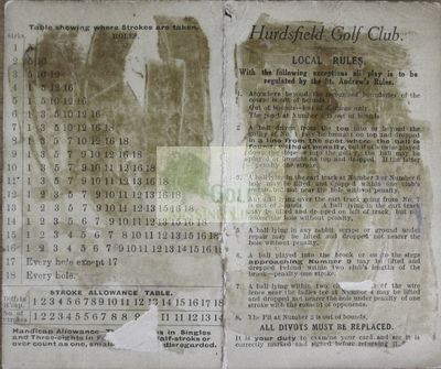 Hurdsfield Golf Club, Macclesfield, Cheshire. Front of the scorecard.