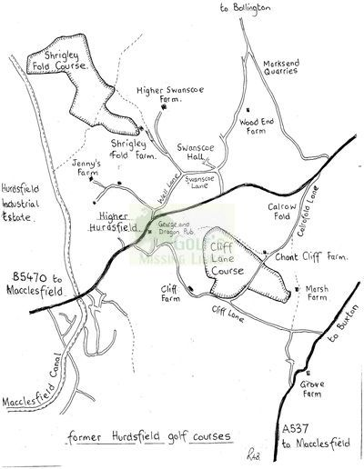 Hurdsfield Golf Club, Macclesfield, Cheshire. Map showing both Hurdsfield courses.