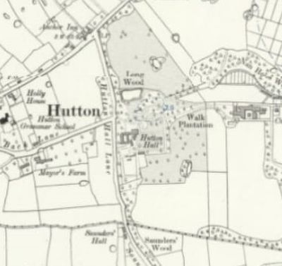 Hutton Golf Club, Preston, Lancashire. Hutton Hall on the 1912 O.S map.