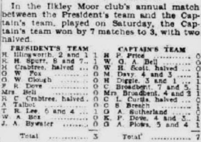 Ilkley Golf Club, Rombalds Moor. Match Captain's versus President's match played in September 1936