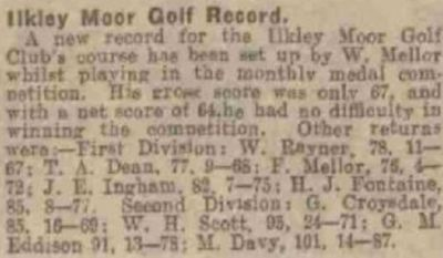 Ilkley Golf Club, Rombalds Moor. Report on a new course record in May 1927.