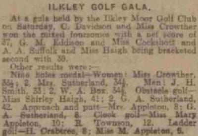 Ilkley Golf Club, Rombalds Moor. Report on the Golf Gala played in July 1928.