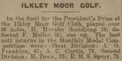 Ilkley Moor Golf Club, Rombalds Moor Course. Competition results from September 1923.