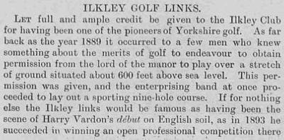 Ilkley Golf Club, Rombalds Moor. Report on the club and new course in January 1902.