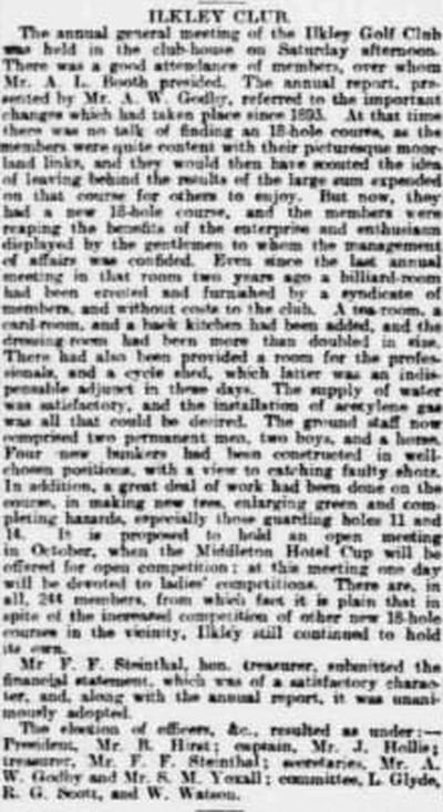 Ilkley Golf Club, Rombalds Moor. Report on the annual meeting in July 1899.