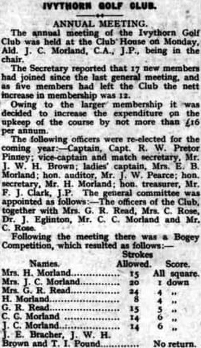 Ivythorn Golf Club, Street, Somerset. Report on the annual meeting held in June 1930.