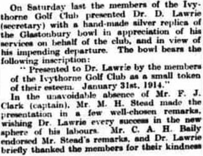 Ivythorn Golf Club, Street, Somerset. Presentation to Dr. Laurie in January 1914.