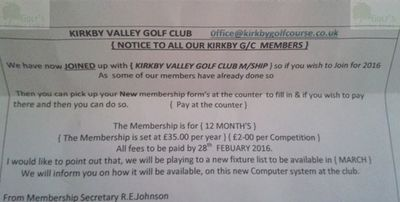 Kirkby Golf Club, Liverpool. Notification of change of name.