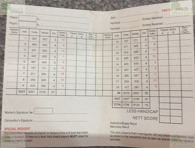 Kirkby Golf Club, Liverpool. Kirkby Golf Club scorecard.