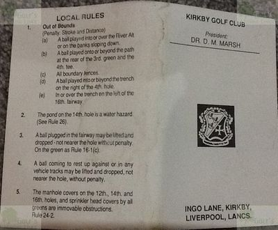 Kirkby Golf Club, Liverpool. Kirkby Golf Club front of scorecard early 1990s.