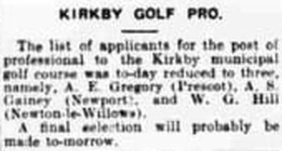 Kirkby Golf Club, Liverpool. Appointment of the professional in April 1934.