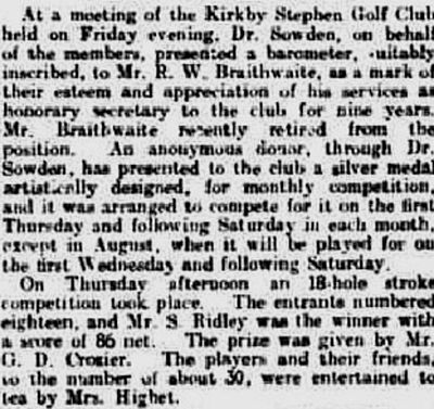Kirkby Stephen Golf Club, Cumbria. Report on a meeting and a competition result from July 1921.