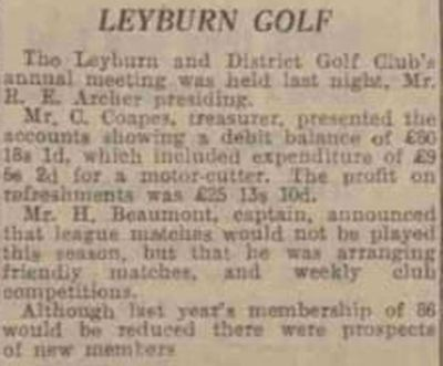 Leyburn Golf Club, Yorkshire. Report on the annual meeting in April 1940.