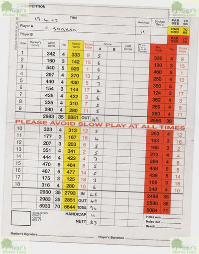 Lofthouse Hill Golf Club, Lofthouse, Wakefield, Yorks. Scorecard and Local Rules.