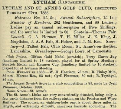 Lytham and St. Annes Golf Club, Mayfield Road Course. Entry from the Golfing Annual 1888/89.