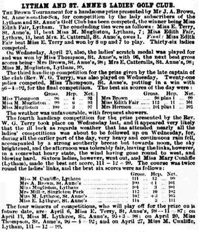 Lytham and St. Annes Ladies' Golf Club, Mayfield Road Course. Competition results from April 1892.