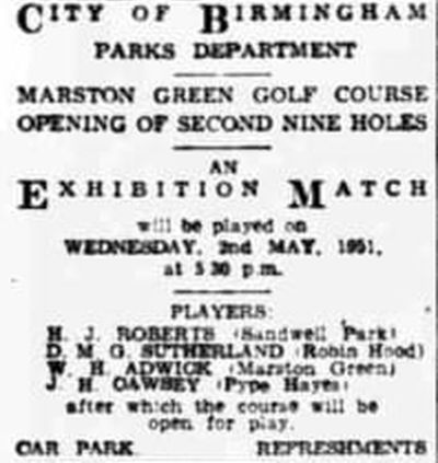 Marston Green Golf Club, Birmingham. Opening of the eighteen-hole golf course.