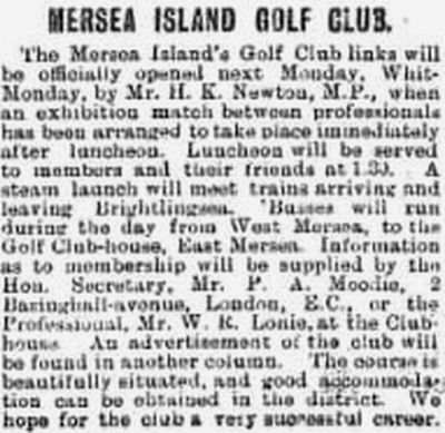 Mersea Island Golf Club, Essex. Report on the opening of the club on Whit-Monday 1911.
