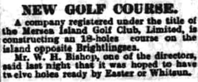 Mersea Island Golf Club, Essex. Report on the new 18-hole course in September 1927.