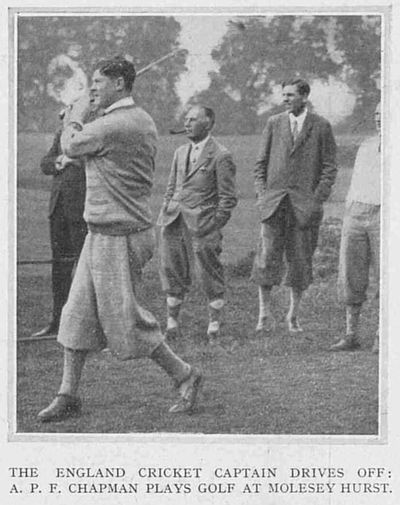 Molesey Hurst Golf Club, London. A P F (Percy) Chapman England Cricket Captain at Molesey Hurst.