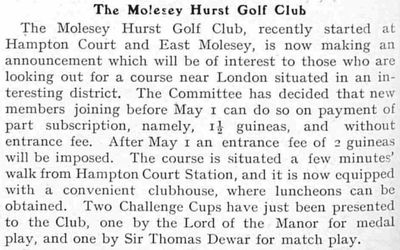 Molesey Hurst Golf Club, Report on the golf club from February 1908.