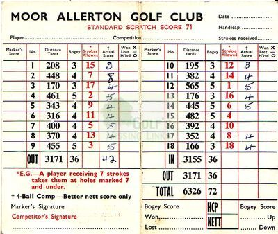 Moor Allerton Golf Club, Leeds. Scorecard for the former course.