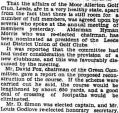 Moor Allerton Golf Club, Leeds. Report on the annual meeting in February 1938.