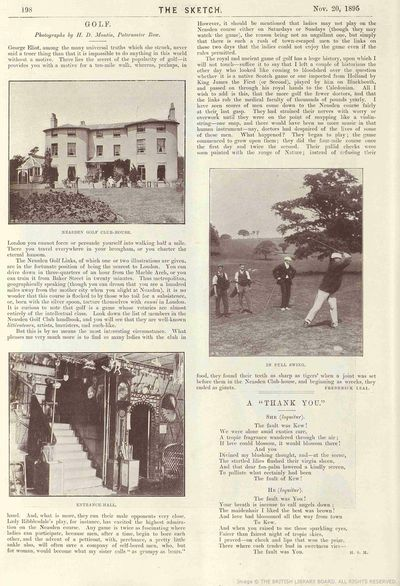 Neasden Golf Club, London. Article from The Sketch November 1895.