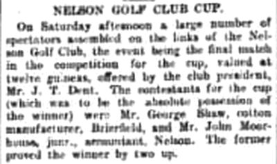 Nelson Golf Club, Lancashire. Result of a competition played in October 1906.