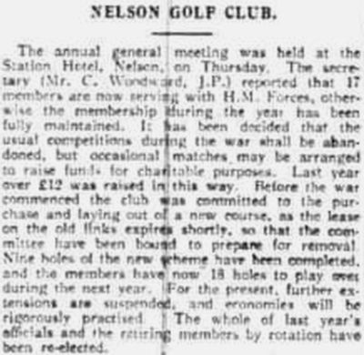 Nelson Golf Club, Lancashire. Announcement of the new course in April 1916.
