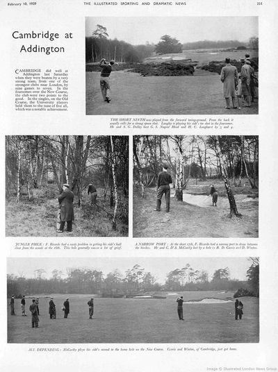 Cambridge University Golf Club. Match played on the now defunct New Addington course in February 1939.