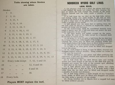 Norbreck Hydro Golf Links, North Shore, Blackpool. Golf Course Scorecard.