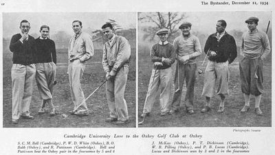 Cambridge University Golf Club. Match played on the now defunct Oxhey course in December 1934.
