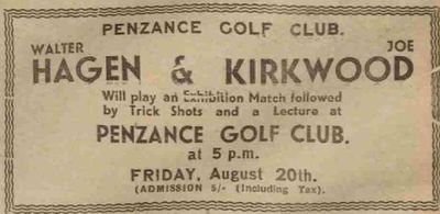 Penzance Golf Club, Sancreed Course, Cornwall. Exhibition match between Hagen and Kirkwood in August 1937.