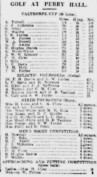 Perry Hall Golf Club, Birmingham. Competition results from June 1914.