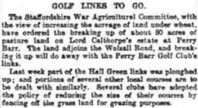 Perry Hall Golf Club, Perry Barr, Birmingham. Course to be used for the war effort February 1918.