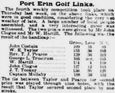 Port Erin Golf Club, Bradda Head, Isle-of-Man. Competition result from March 1897.