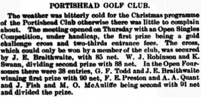 Portishead Golf Club, Bristol. Competition results from Christmas 1907.