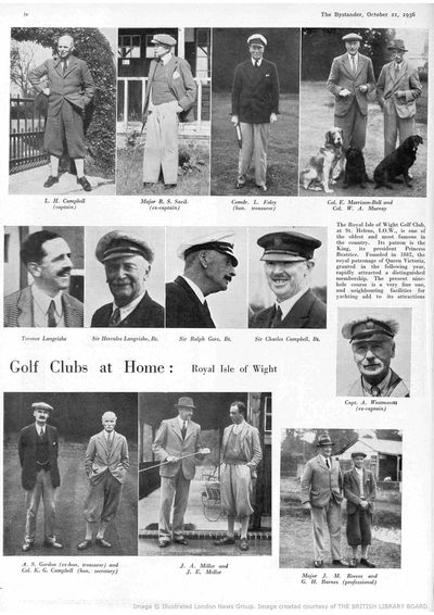 Royal Isle of Wight Golf Club, The Duver. Article from The Bystander October 1936.